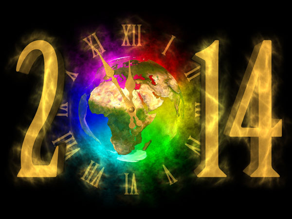 New Year greeting 2014 picture of Europe - clock