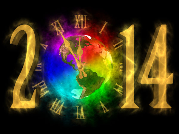 Happy New Year 2014 picture of America - clock