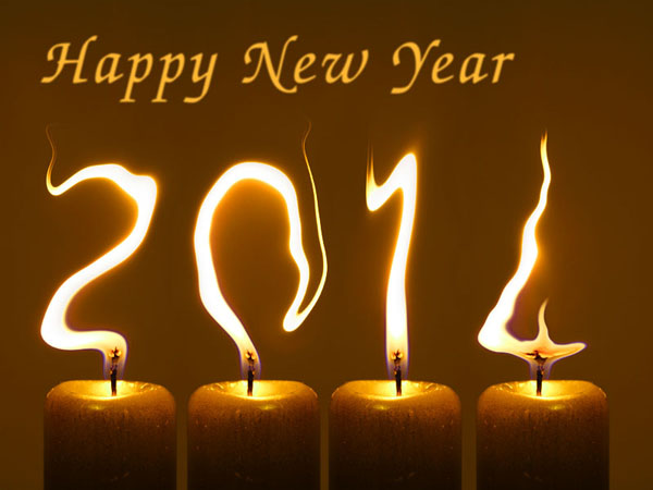 Happy New Year 2014 greeting free picture with candles